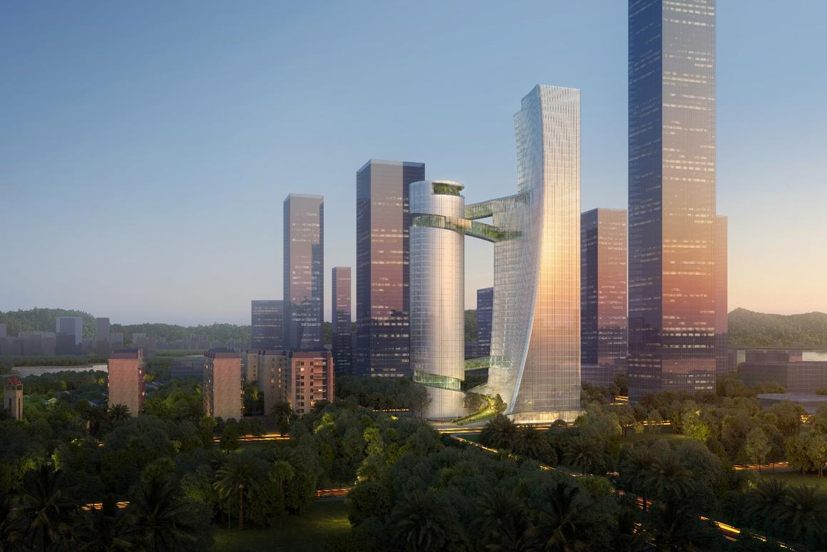 iCarbonX Headquarters' skyscrapers will rise to heights of 150 m (492 ft) and200 m (656 ft)-tall