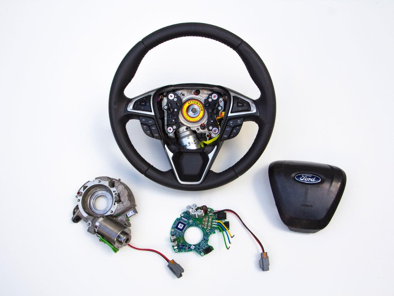 Ford's Adaptive Steering system uses an actuator placed inside the steering wheel