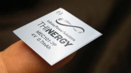 The THINERGY Micro-Energy Cell is available in sizes as small as 0.5in (12.7mm) square