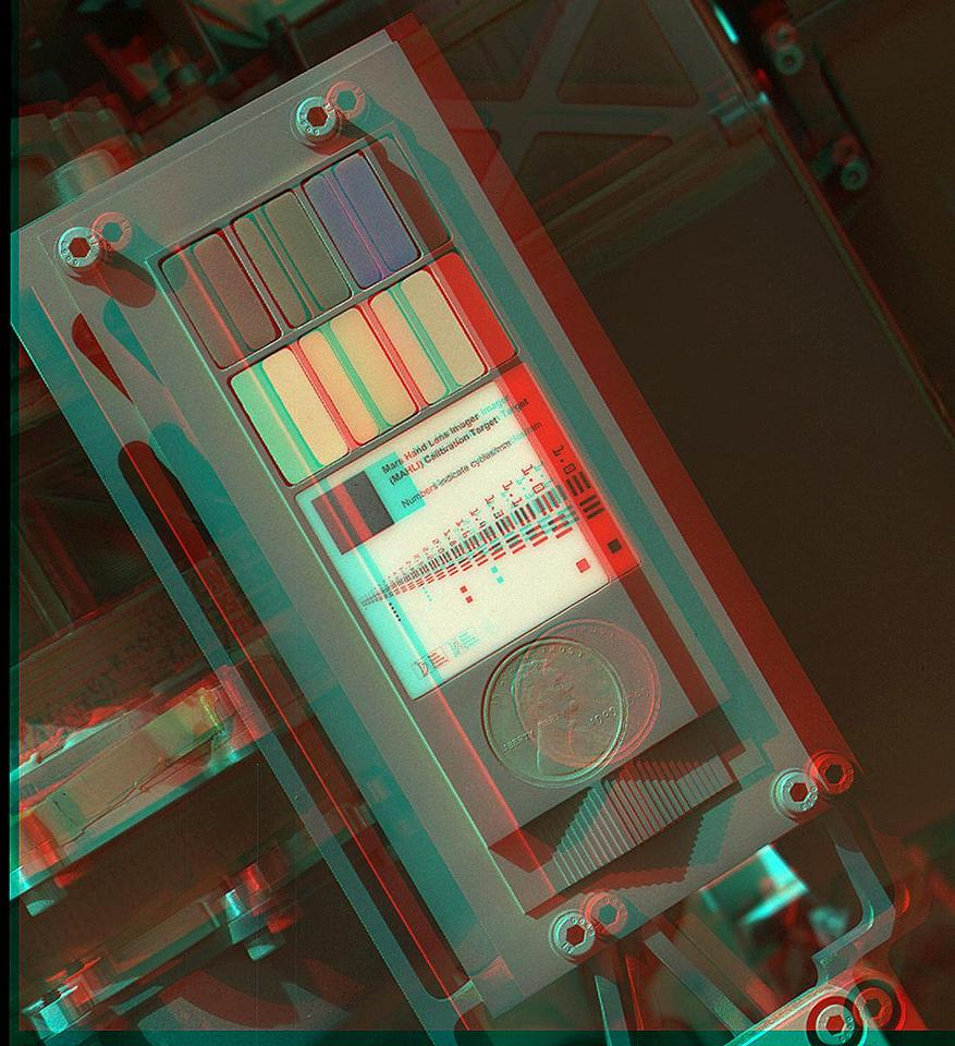a 3D image of the calibration target (Image: NASA/JPL-Caltech/Malin Space Science Systems)