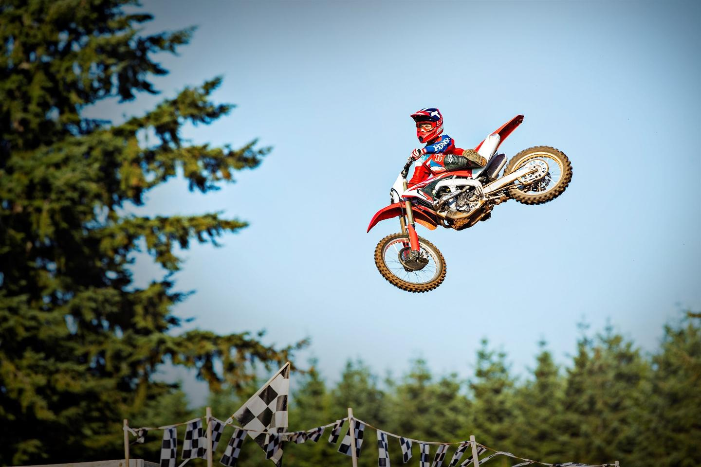 The 2018 Honda CRF250R in high-flying action