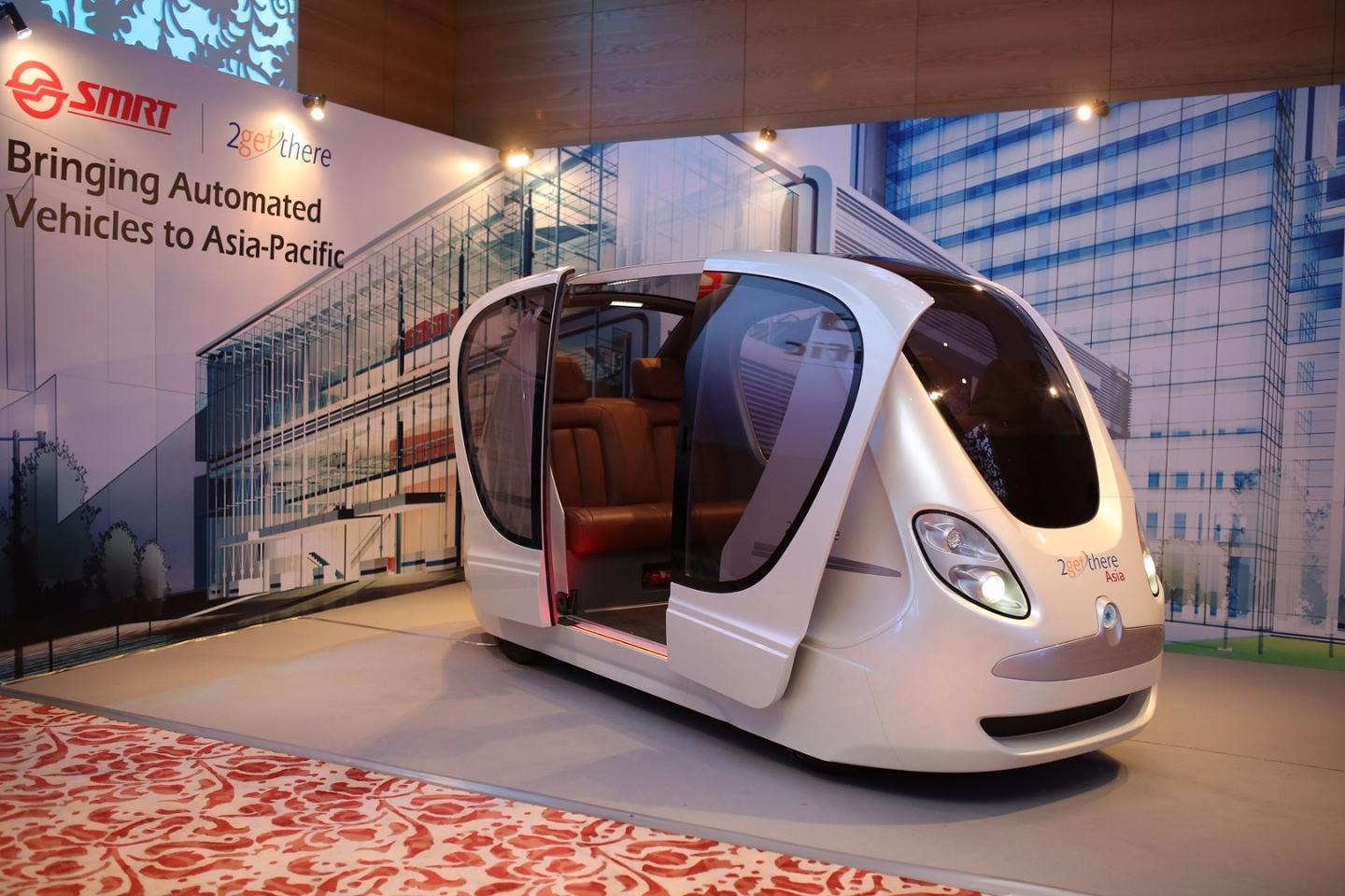 The third generation GRT electric pods can seat eight or twelve people and will be used to service first and last-mile mobility needs in Singapore