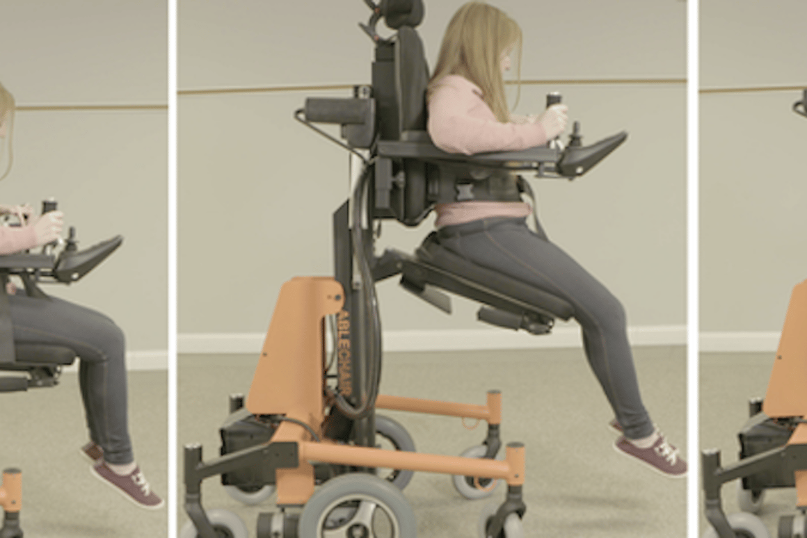 The AbleChair is kind of like a joystick-controlled motorized wheelchair that functions like a forklift