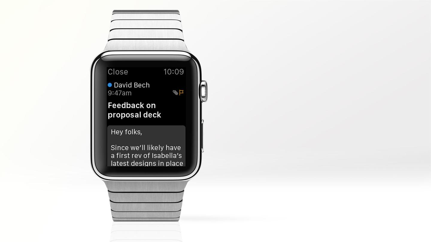 Microsoft today updated its iOS Outlook app with Apple Watch support