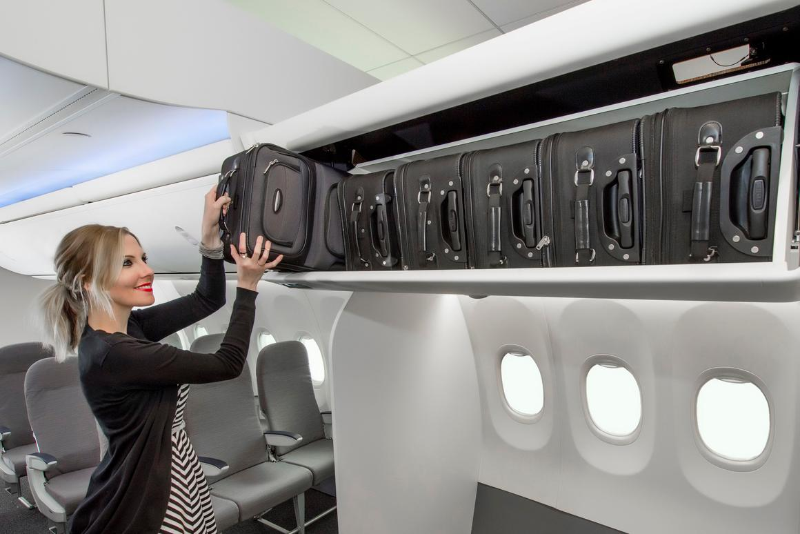 Boeing's Space Bins will stow six bags, two more than the current pivot bins installed on Next-Generation 737s (Photo: Boeing)