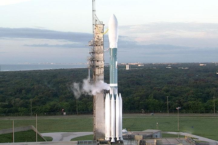 The Delta II rocket, waiting to lift off with the GRAIL spacecraft