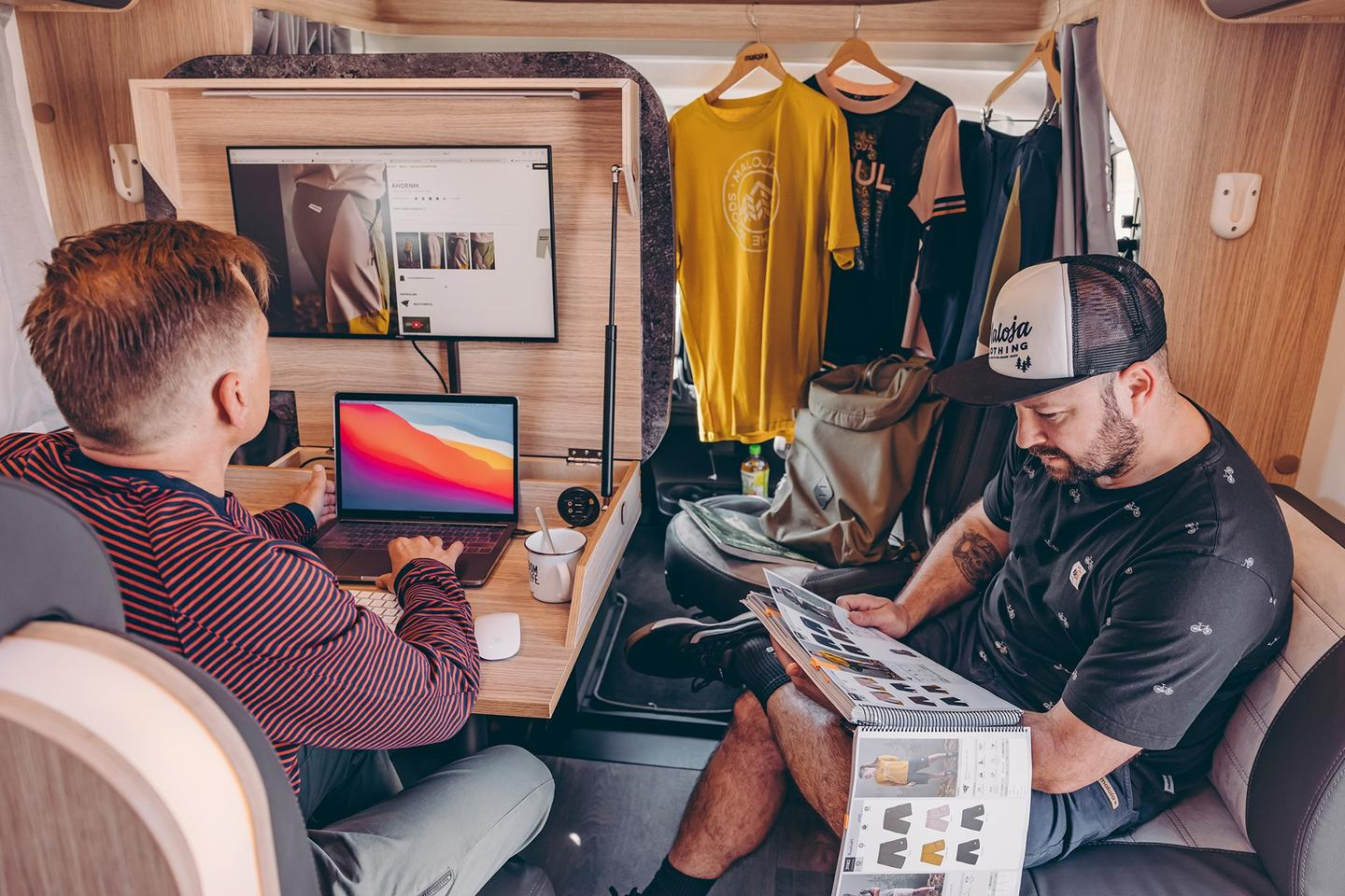 A Home Office on Wheels isn't merely for solo office work; here it functions as a sales meeting location