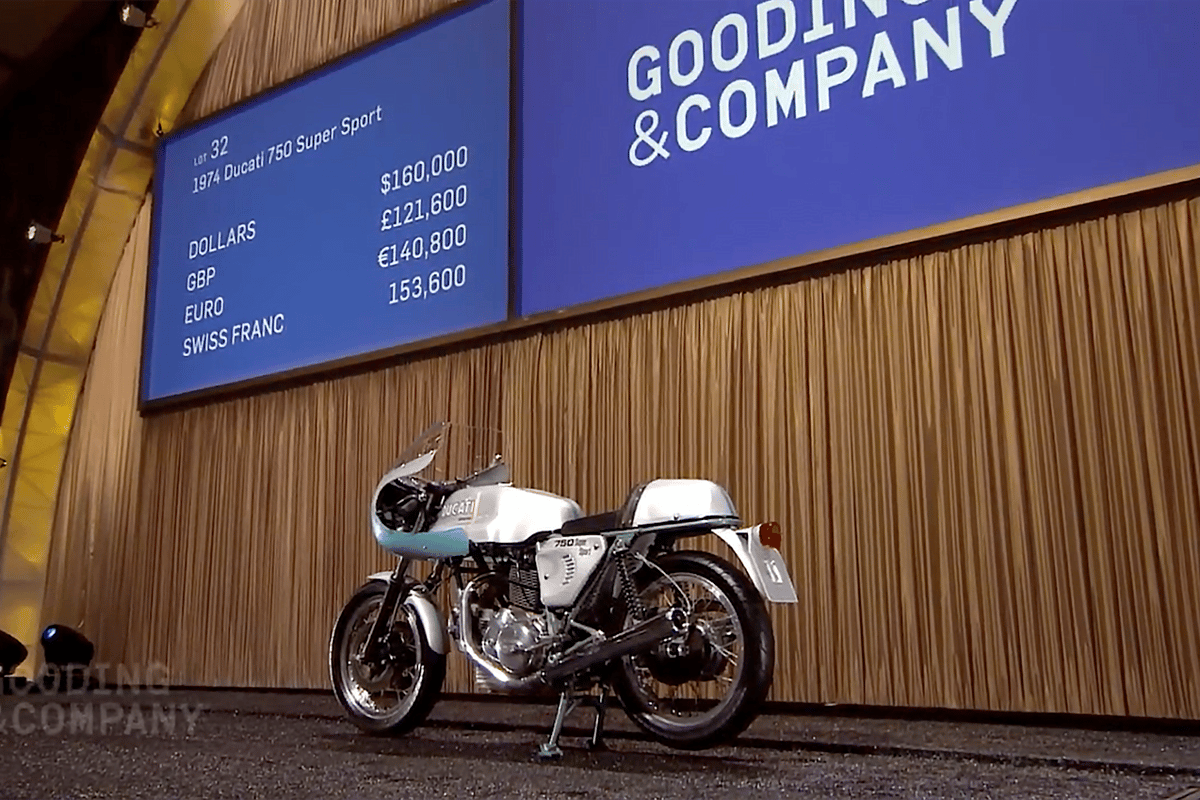 With a final price of $176,000, this 1974 Ducati 750 Supersport set a new world record for the bike which put Ducati on the map, beating out the previous record of US$152,885 (sold for EUR114,371) set at the Paris Retromobile auctions in February, 2013 by Artcurial and moving the 750 SS into a price bracket previously only achieved by Ducati NCR race bikes (but still well below the two Desmosedicis sold by RM in 2012.)