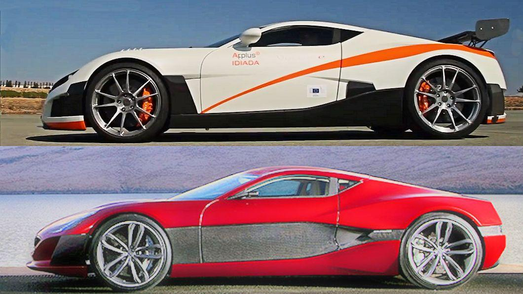 Volar-e electric coupe by Applus-Idiada at top, Rimac Concept One at bottom