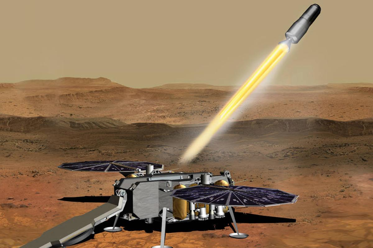 Artist's concept of NASA's Mars Ascent Vehicle lifting off from the Red Planet with rock and regolith samples