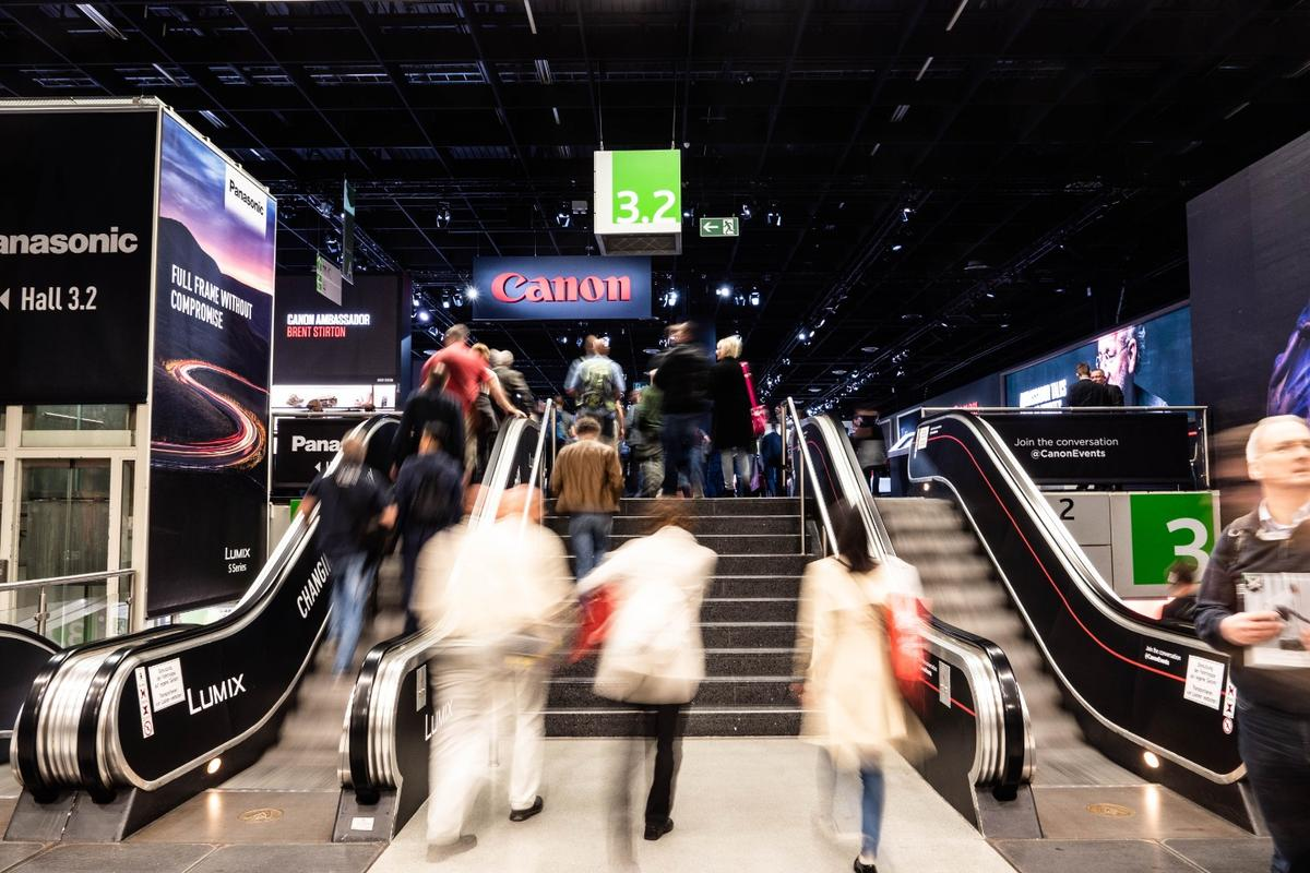 Canon's giant display is close to the start of the winding Photokina expo