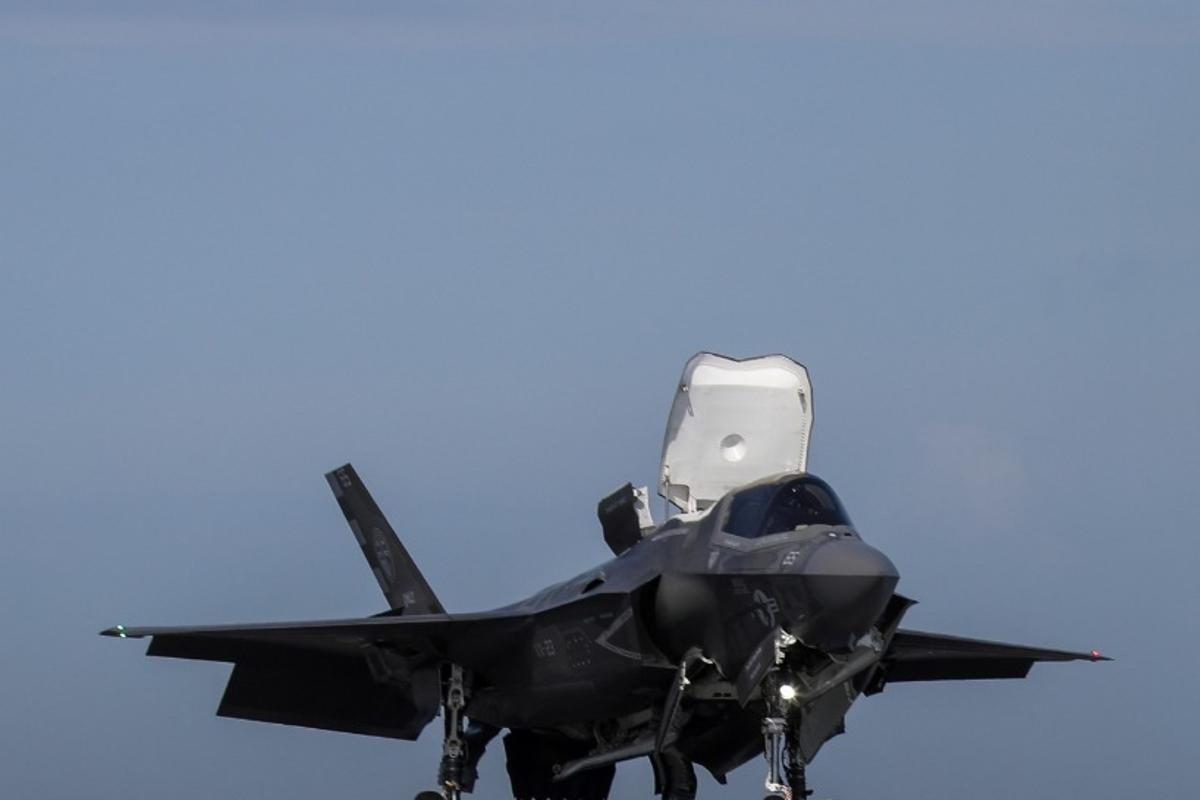 The F-35B can land vertically