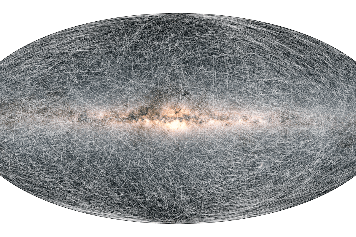 An image showing the proper motions of 40,000 Milky Way stars as they are estimated to travel over the next 1.6 million years, based on Gaia data