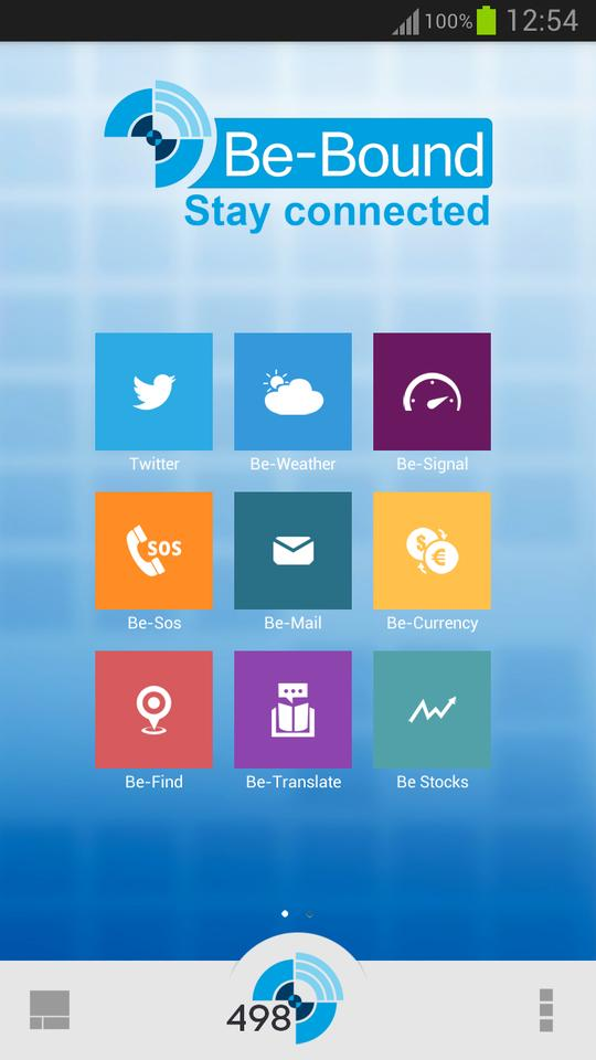 Be-Bound's home screen