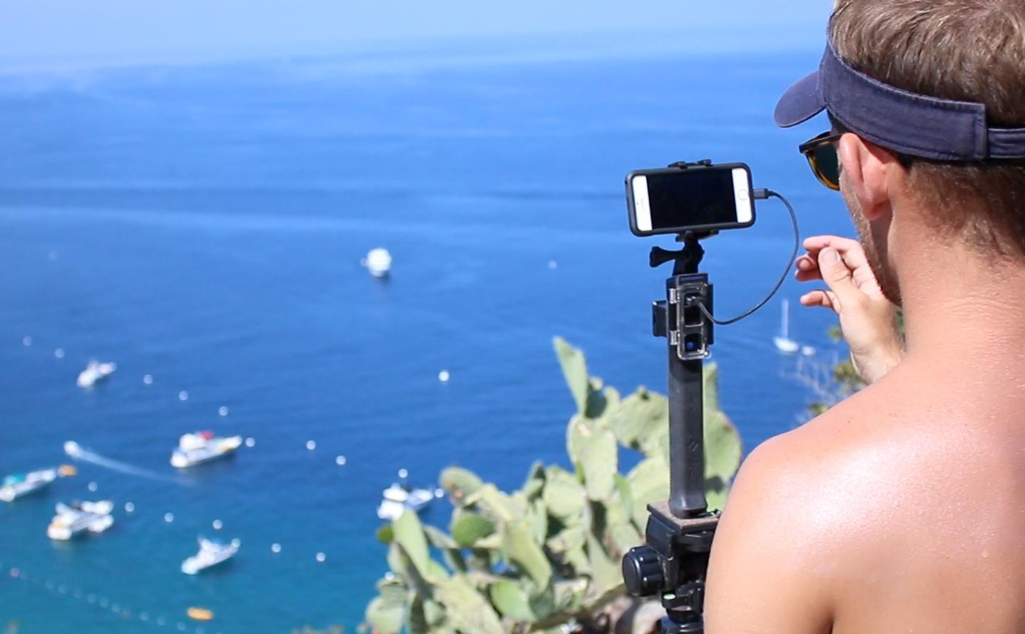 The PolarPro PowerGrip H2O can be used with GoPro cameras or other devices via a mount adapter