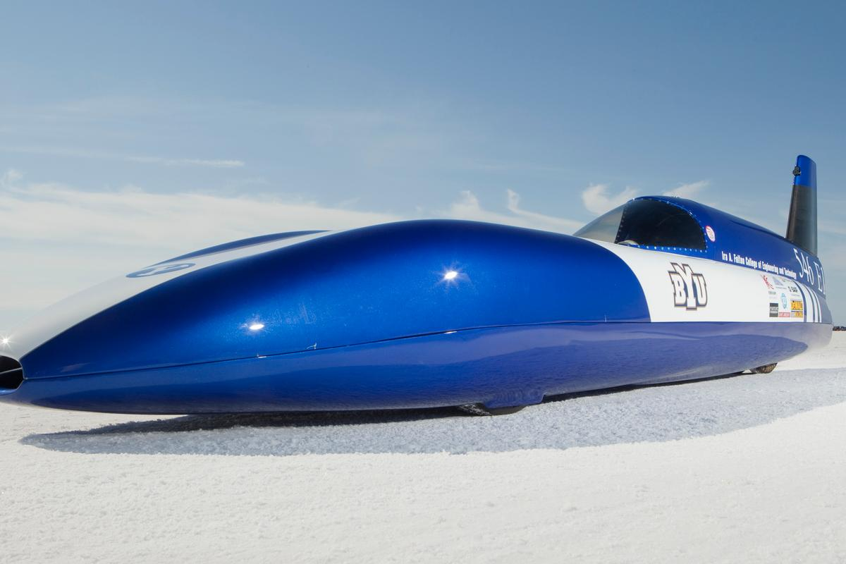"The Electric Blue streamliner built by BYU students now holds the world land speed record in the ""E1"" class"