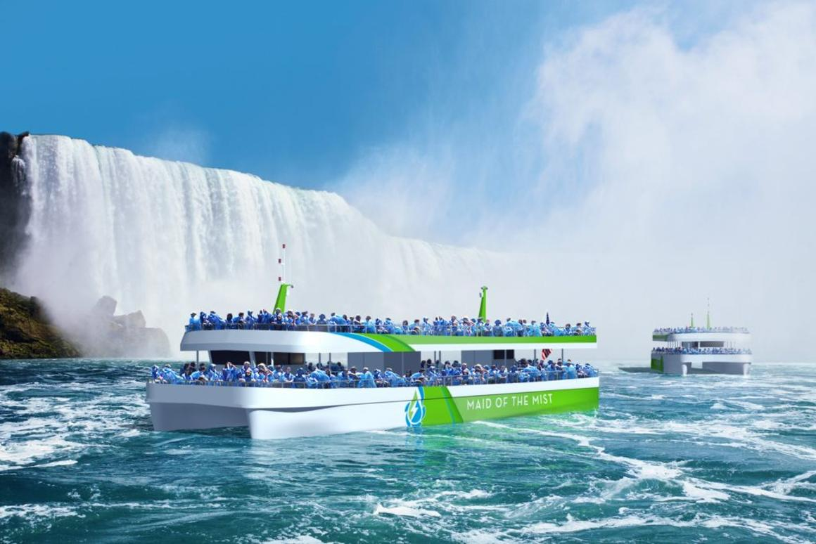 Maid of the Mist's new catamaran-like boats will be powered by lithium-ion battery and an onshore charging system