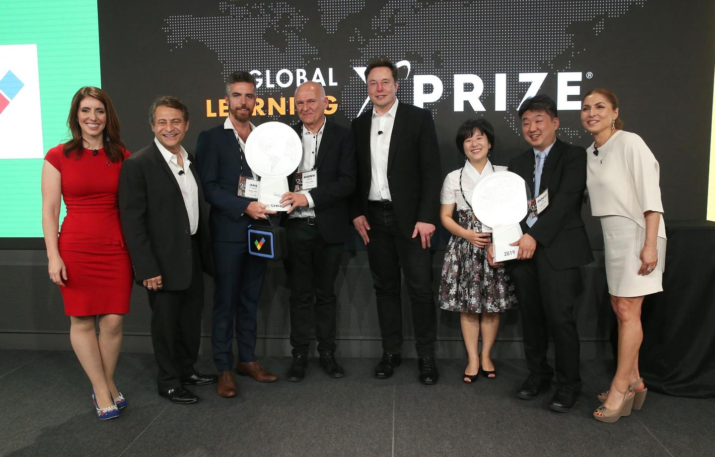 Winning teams of the Global Learning XPrize with CEO Peter Daimandis and one of the benefactors Elon Musk
