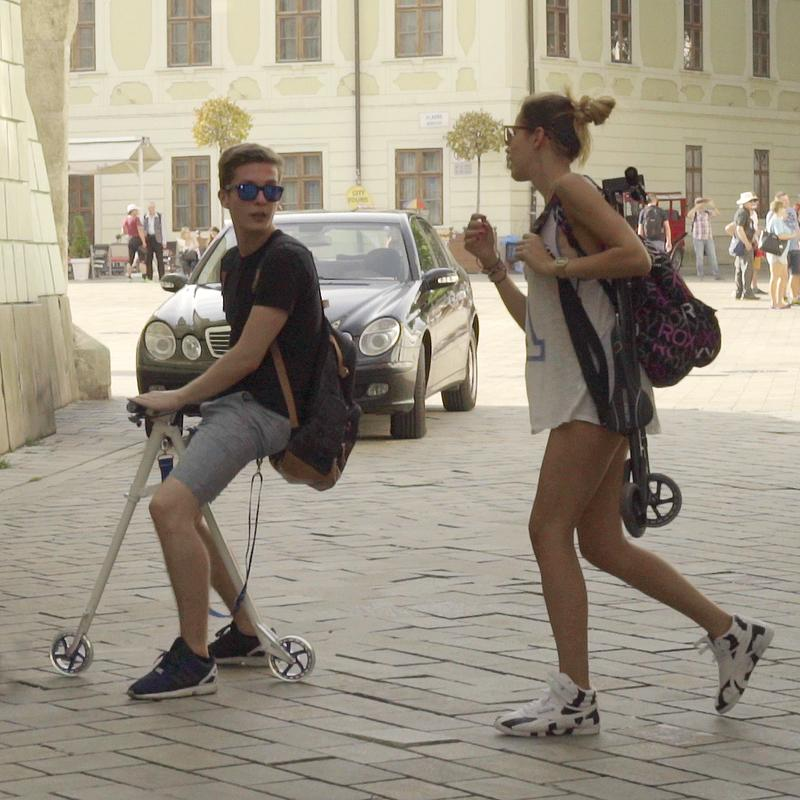 The Wheela scootbike can be easily collapsed and carried