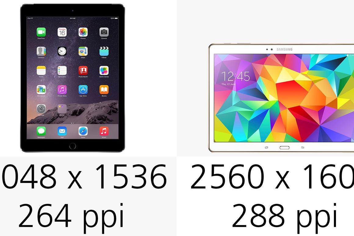 iPad Air 2 vs  Samsung Galaxy Tab S 10 5