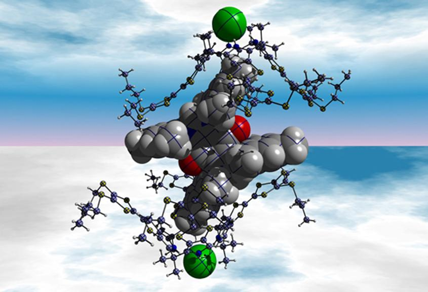 Illustration of an assembled set of different molecules that meet, exchange electrons and then disassemble because chloride ions, which are represented as green spheres, are present – if these chloride ions are removed, the entire process can be reversed (Image: Jung Su Park)