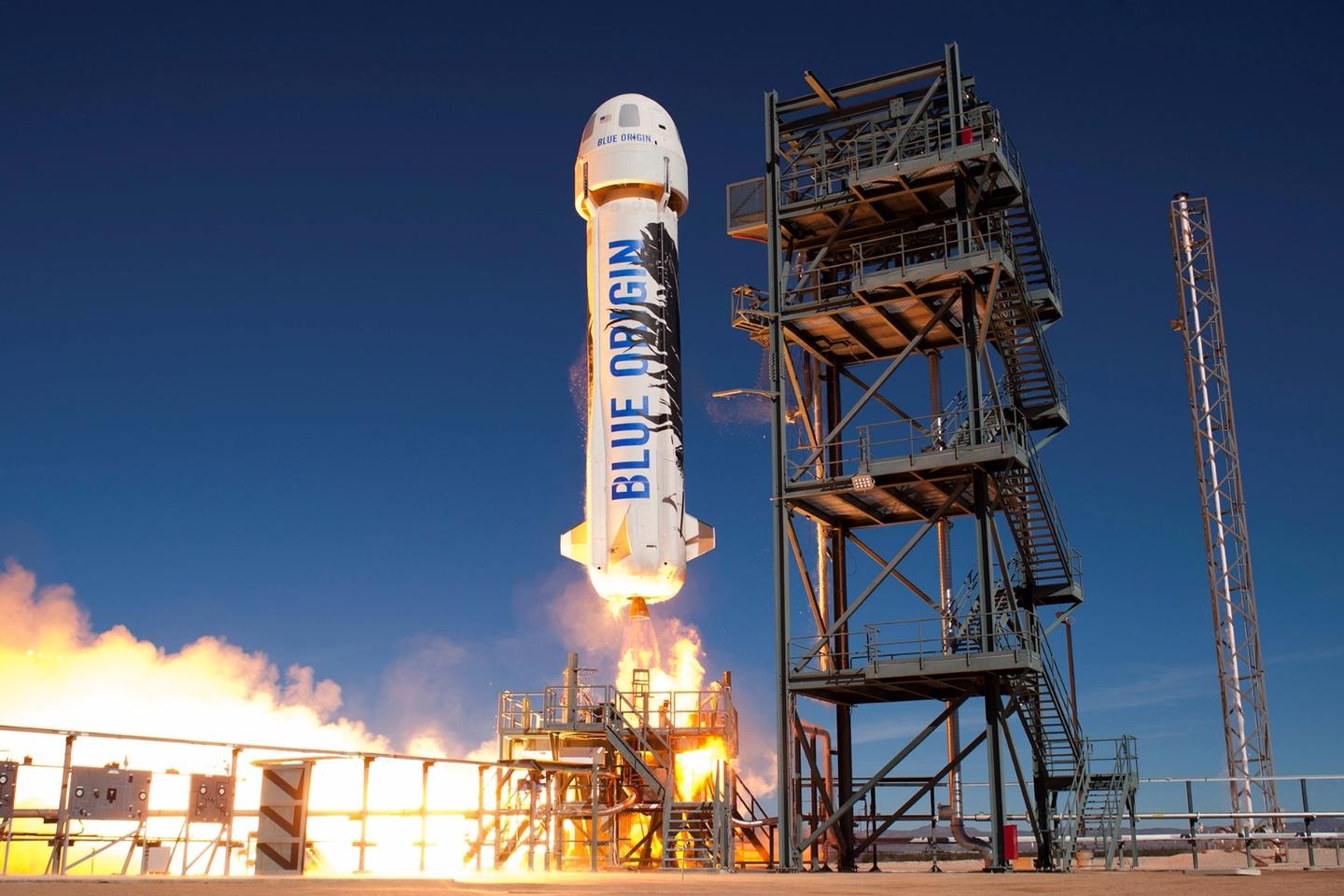 The New Shepard rocket was the same one used in Blue Origin's first powered landing flight in November