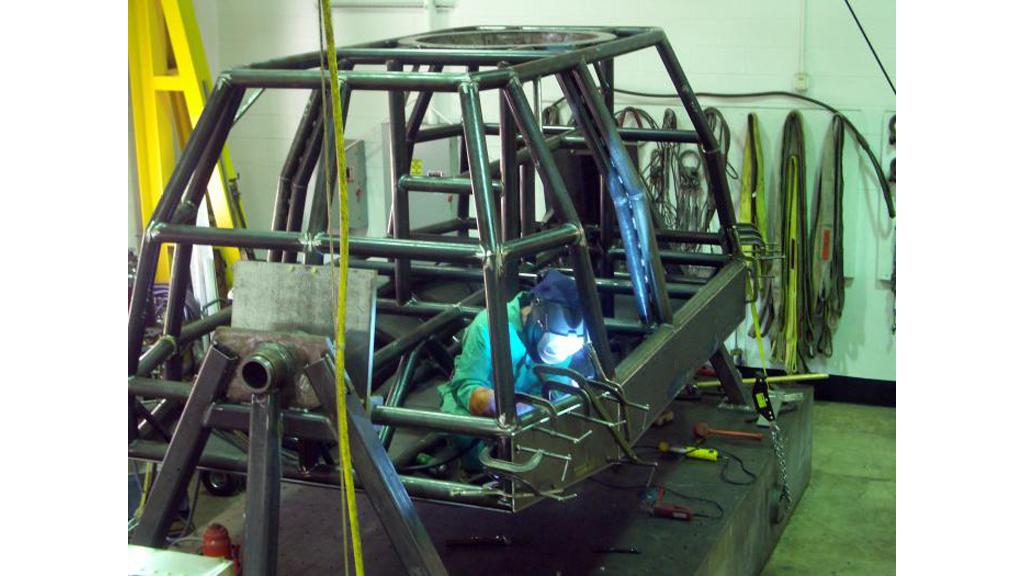 """The tubular steel """"space frame"""" of the Ultra II is welded together"""