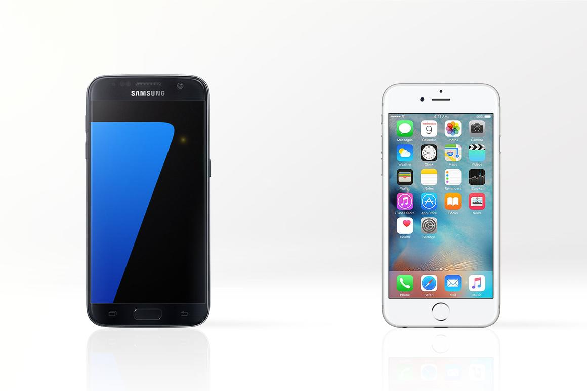 Gizmag compares the features and specs of the Samsung Galaxy S7 (left) and Apple iPhone 6s
