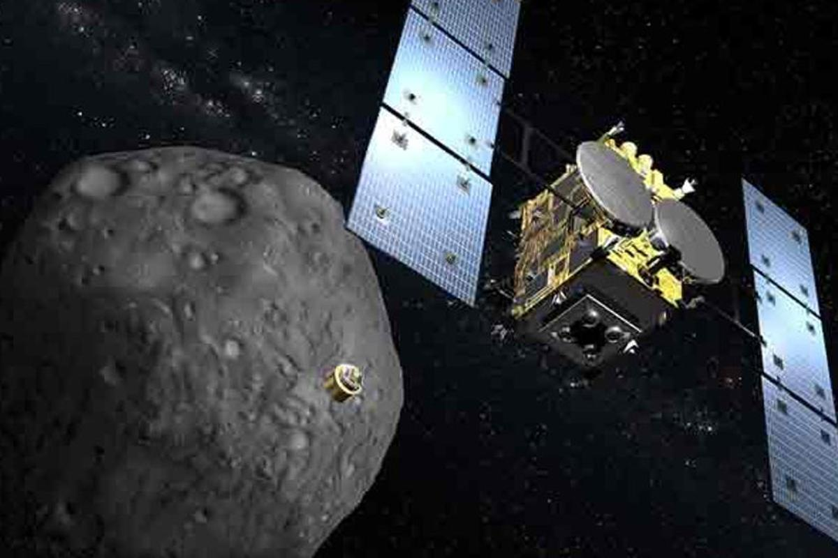Artists impression of the Hayabusa 2 probe, which launched for the asteroid Ryugu in 2014