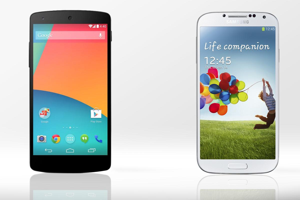 Gizmag compares the features and specs of the new LG/Google Nexus 5 and the Samsung Galaxy S4