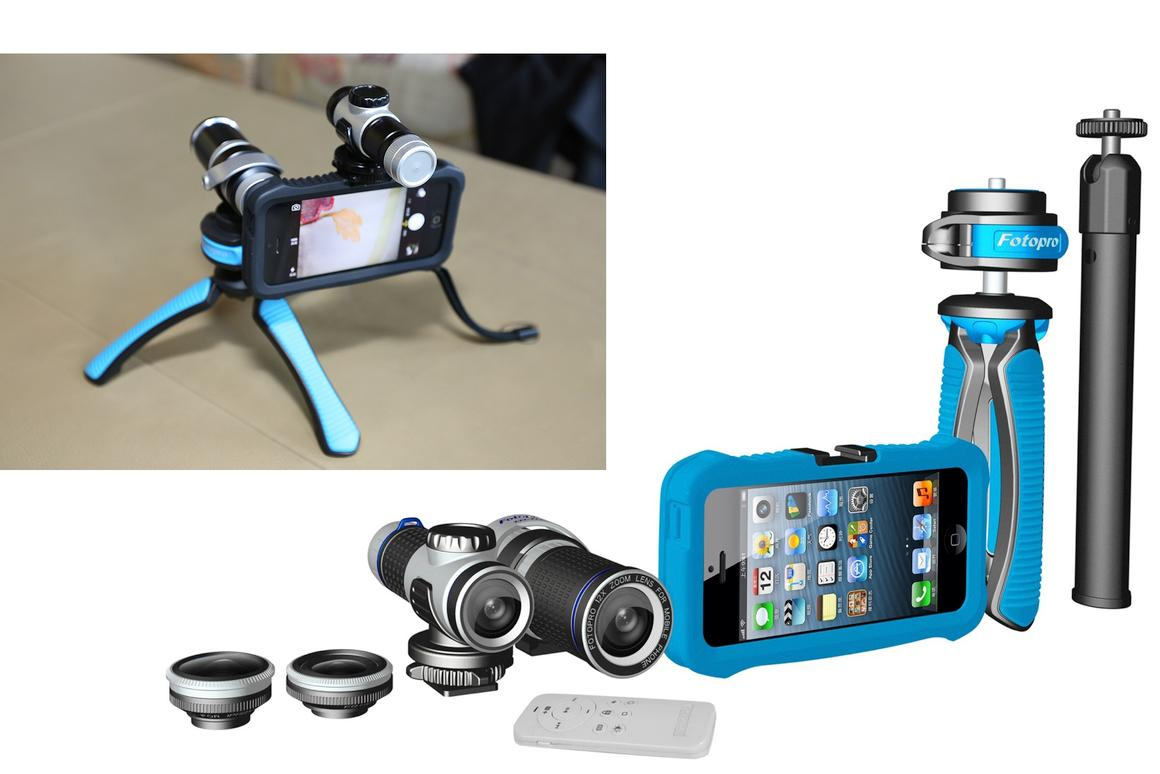 The FotoPro Master Kit comprised of a protective case for the iPhone 5 with tripod and flash mountings for the other accessories in the pack