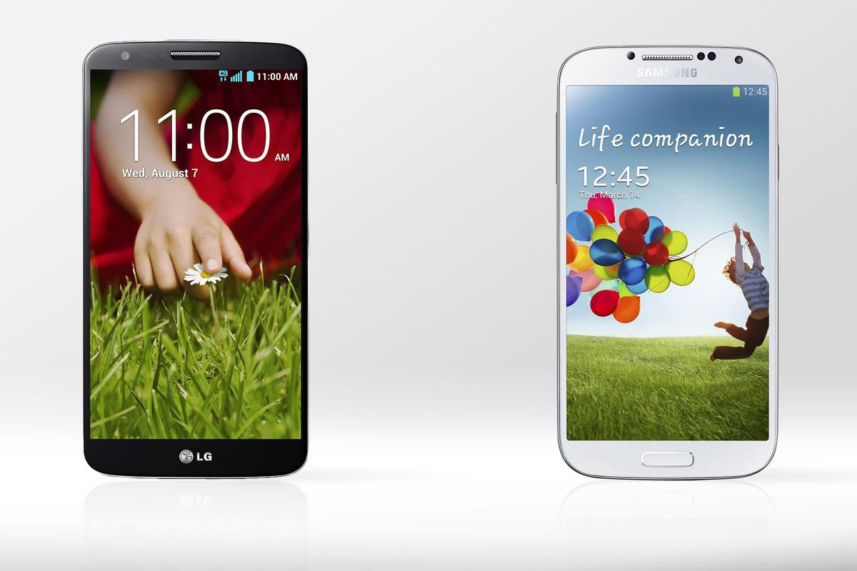 """Gizmag compares the specs and features of LG's new G2, with its """"innovative"""" back buttons, and the ever-popular Samsung Galaxy S4"""