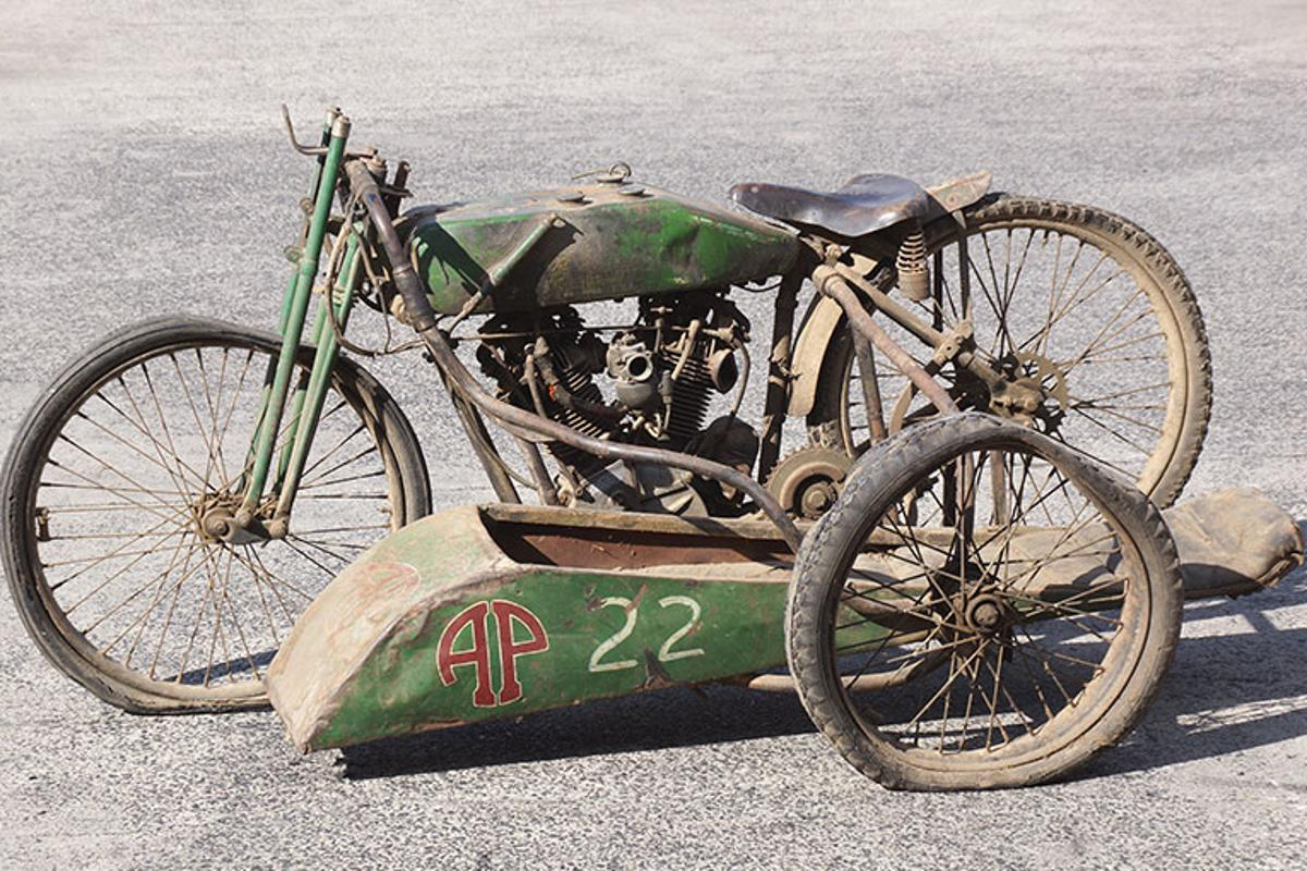 A circa-1927 FHA 8-Valve V-Twin racer, complete with sidecar, has made motorcycle auction history in Australia