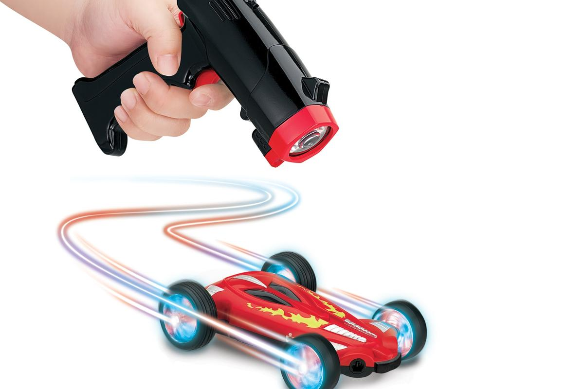 Lazer Stunt Chasers are remote-control cars that chase a user-aimed spot of laser light across the floor