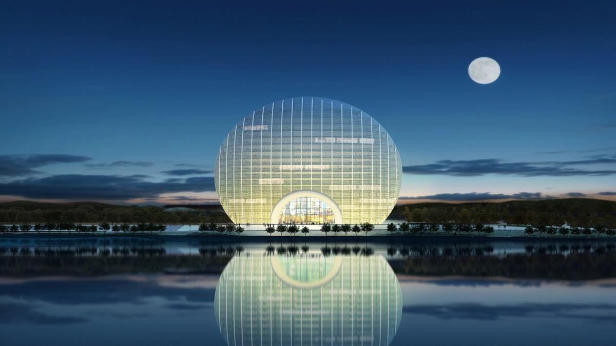 The Yanqi Lake Kempinski Hotel is designed to look like the rising sun