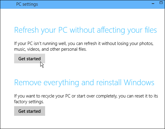 Start the PC Refresh process