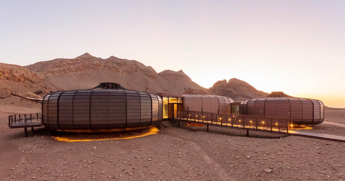 Fossil-shaped buildings showcase geology in the Arabian desert