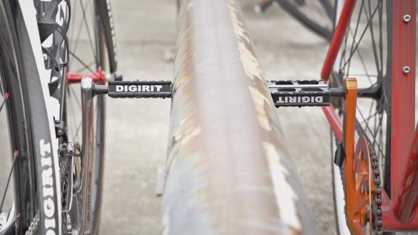 Pedal Park pedals magnetically hold your bike in place against metallic objects