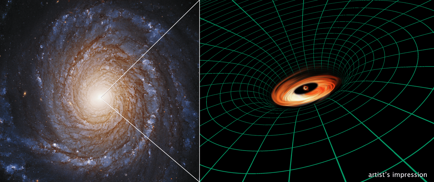 The small, malnourishedblack hole at the center of galaxy NGC 3147 has surprised astronomers with its disk of dust and gas