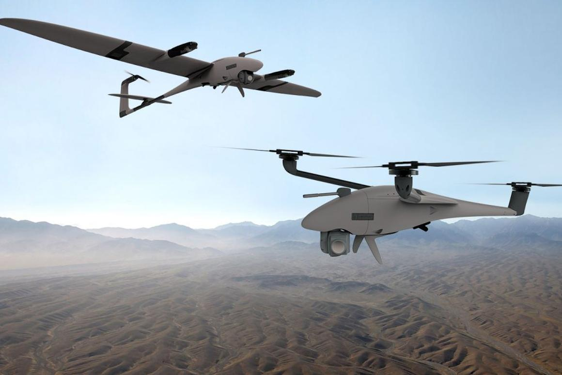 The drone can be flown as a fixed-wing VTOL, or as a multicopter