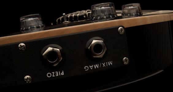 Output from the LR Baggs/PRS piezo system can be routed to its own jack or blended with the signal from the guitar's Paul Reed Smith-designed 58/15 treble and bass pickups