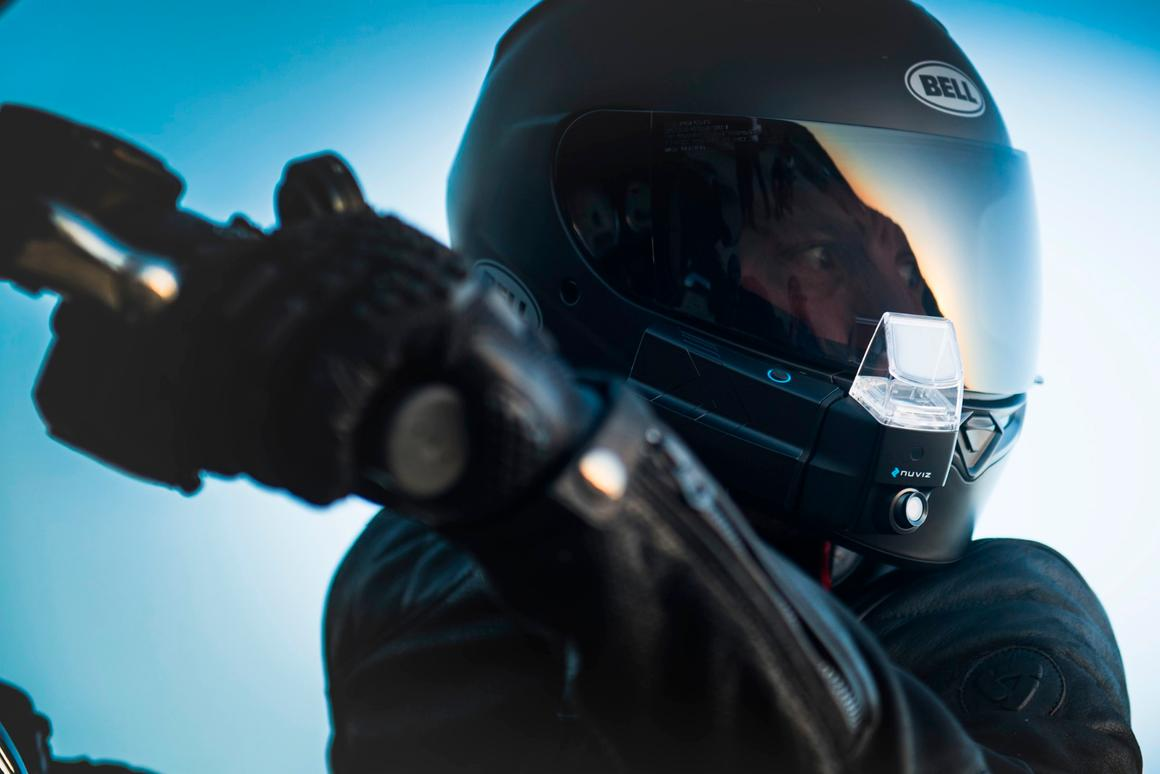 Nuviz attaches to most full-faced helmets and provides fully integrated functionality like navigation, communication and media playback