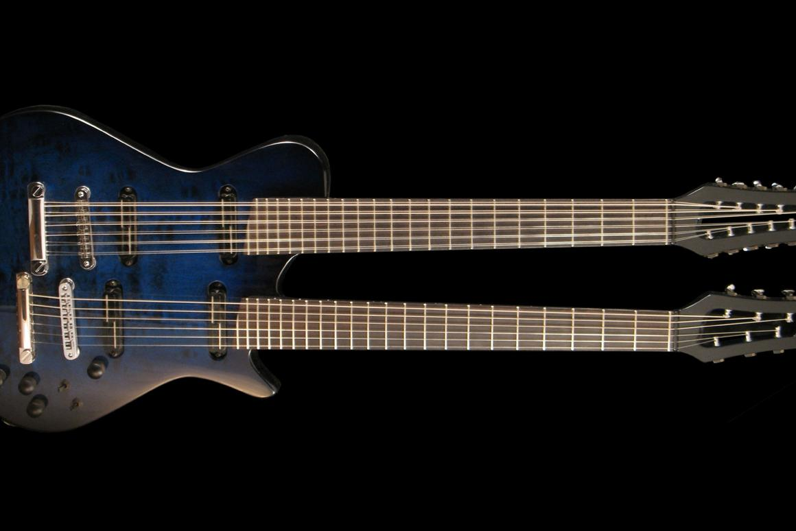 The Doubleneck guitar from Veillette Guitars benefits from unique new neck geometry which allows the twin necks to be positioned closer to each other, and is said to weigh in lighter than some single neck models