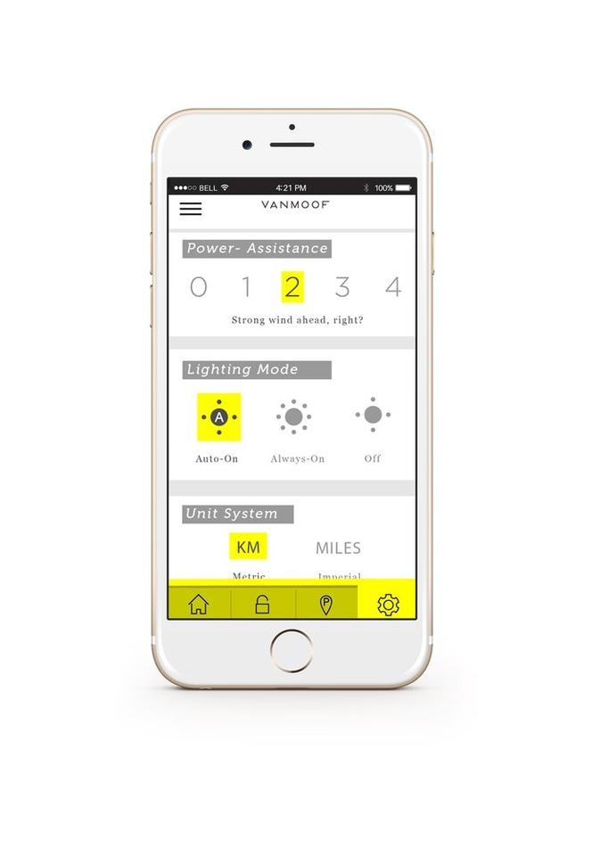 An app allows Electrified S users to change the bike's settings
