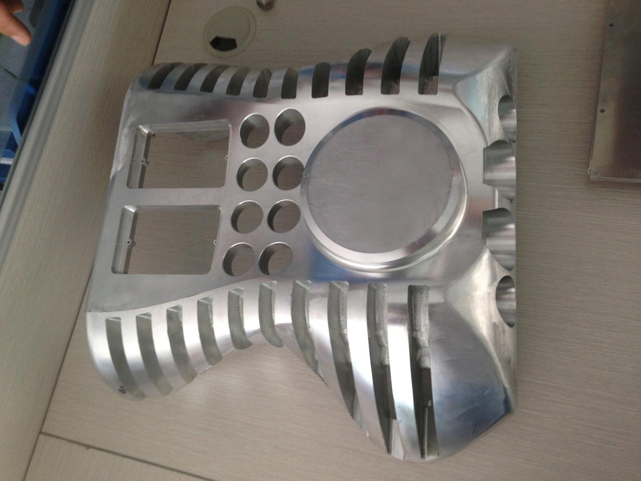 The curvaceous housing is machined from a solid block of aircraft-grade aluminum, copper or titanium
