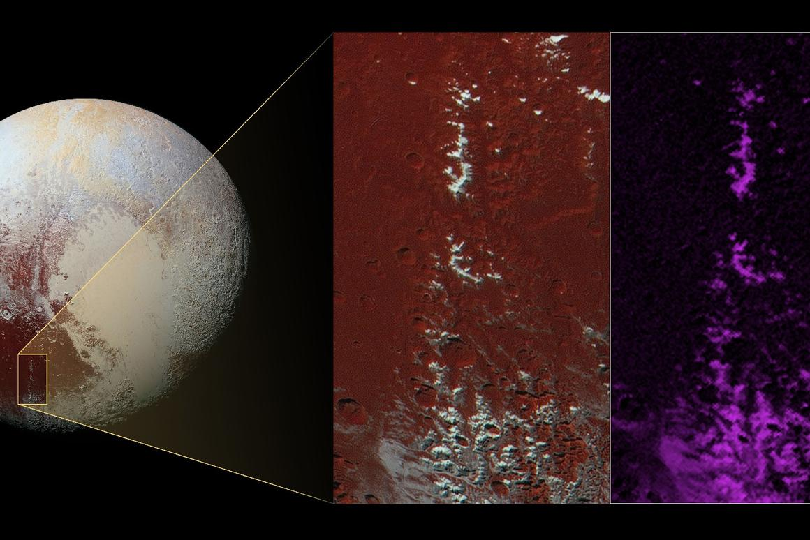 Images captured by New Horizons shows bright ice on the mountain peaks (white in the left inset image) strongly correlates with the distribution of methane ice (purple in the right inset image)