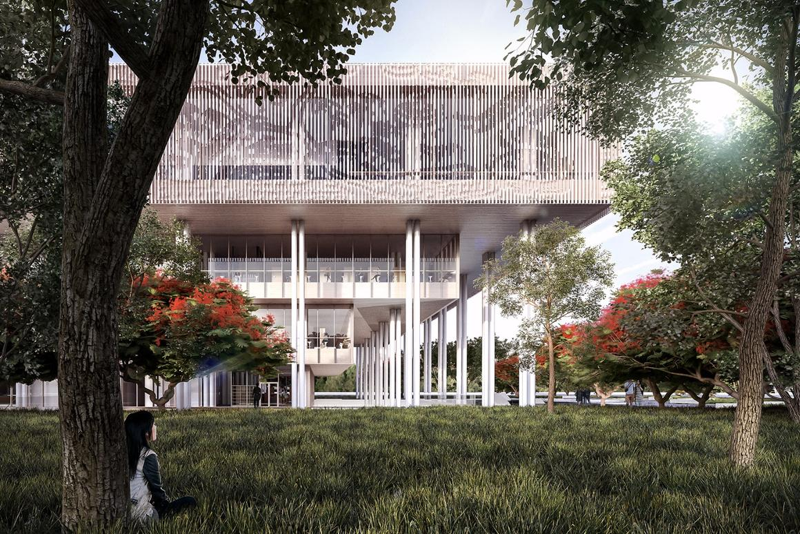 The skin in which the top floor of the Tainan Public Library is wrapped helps to regulate internal temperature and has a map of ancient Tainan imprinted into it