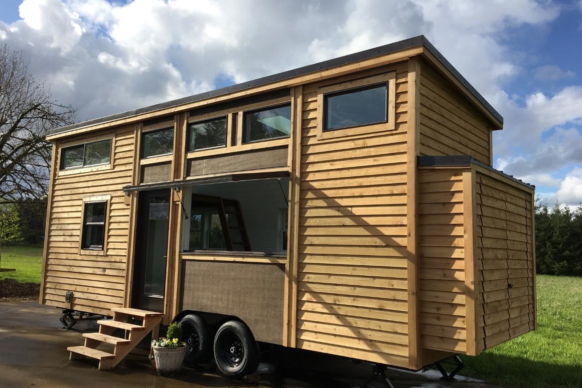 The Covo Mio tiny house gets electricity from an RV-style hookup as standard but can also be outfitted with solar power to run off-the-grid
