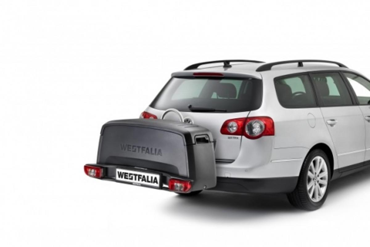 The PortiloBox converts from towbar-mounted bicycle rack to extra boot-space in a matter of seconds