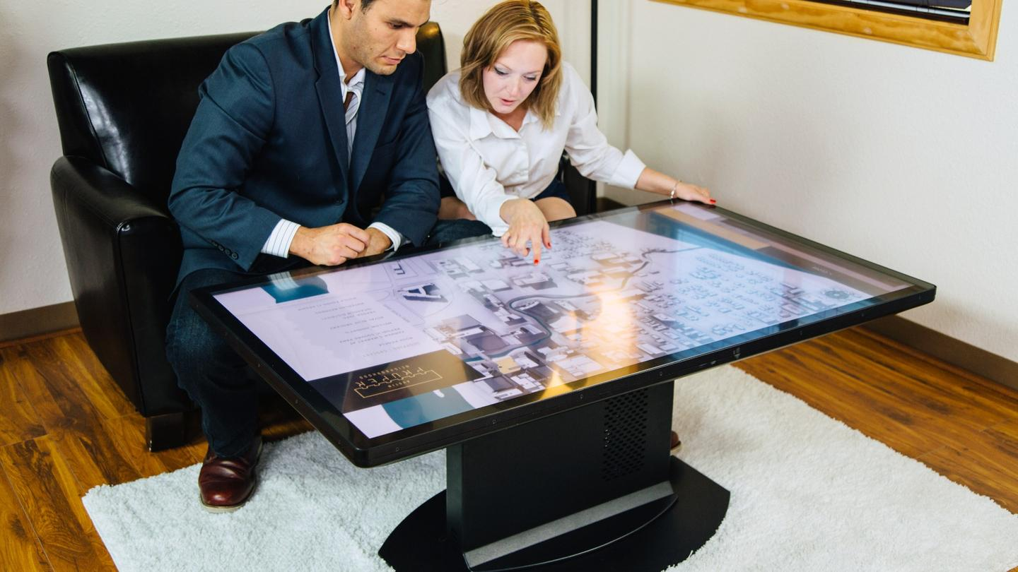 Ideum's UHD 55-inch Duet table lets users interact with it using real-world objects